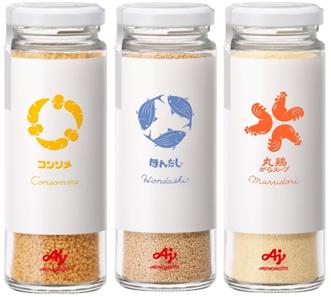 左から「味の素KKコンソメ」<顆粒75g瓶Loop>、「ほんだし®」<75g瓶Loop>、「丸鶏がらスープ」 <70g瓶Loop>