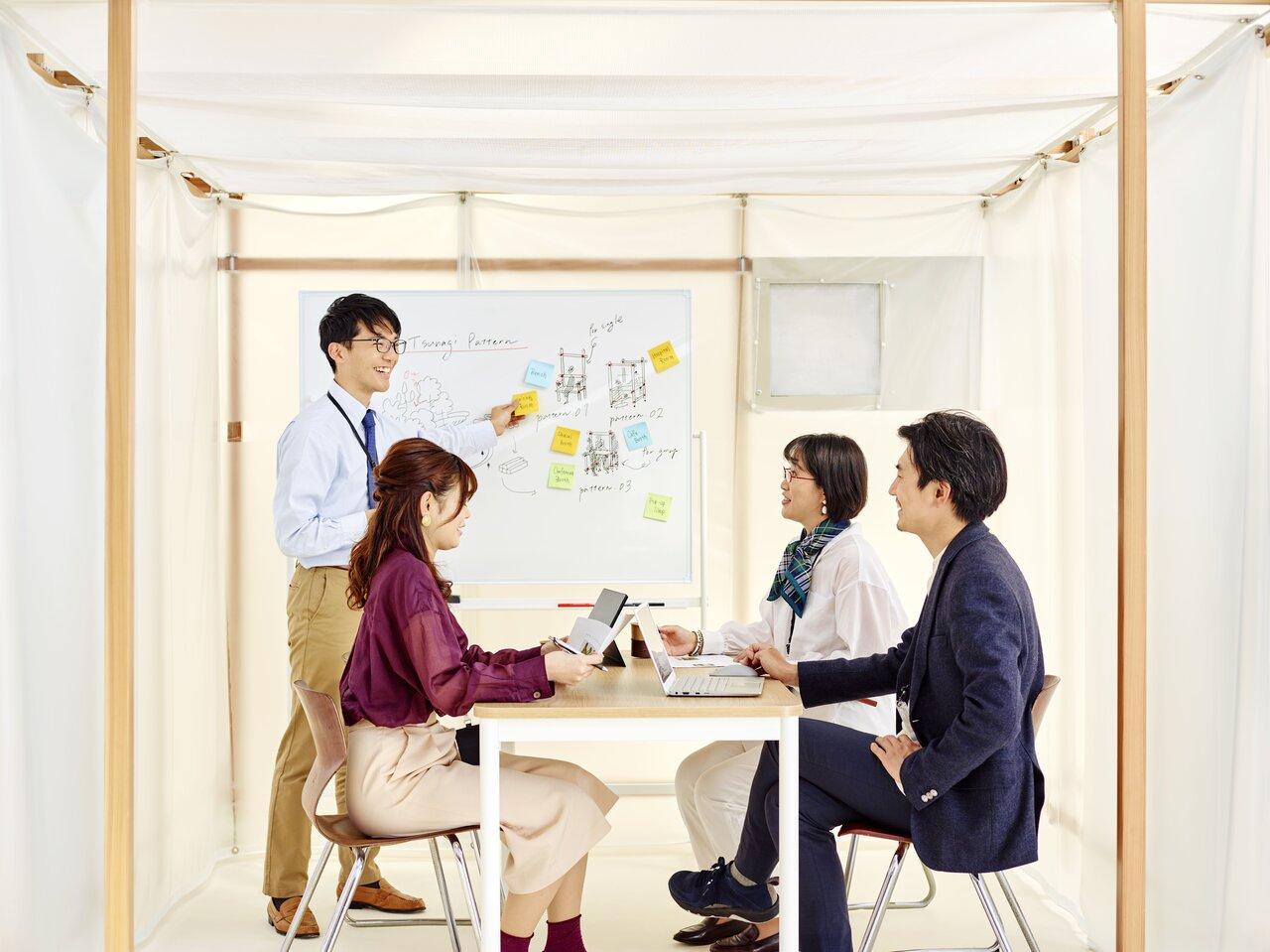 きれいな空気で常に換気する清浄個室ブース[陽圧](例:会議室)