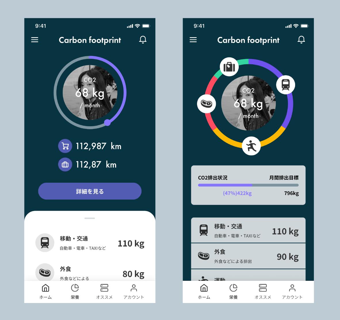 購買のCO2排出量を可視化し、ユーザーに情報提供する際のイメージ画面