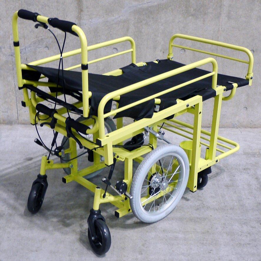 マグネシウム合金製福祉介護機器の例_ストレッチャー型車いす