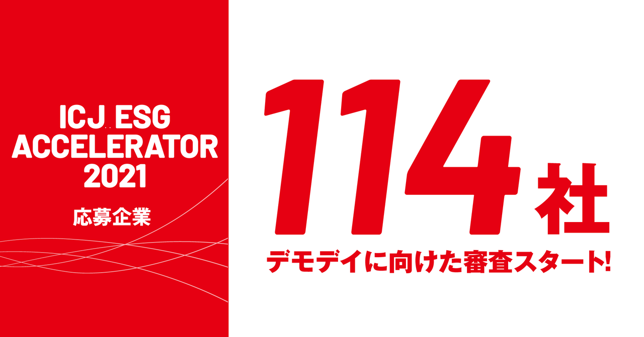 「ICJ ESGアクセラレーター2021」応募企業数