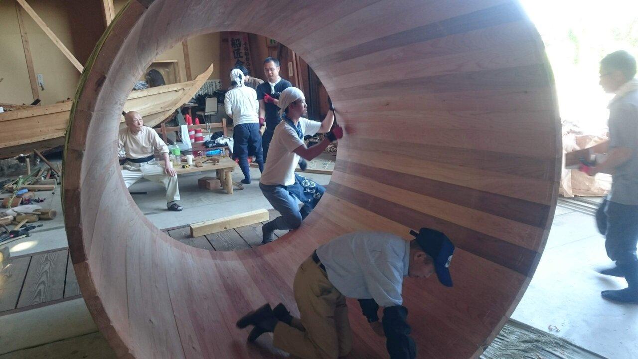 2019年佐渡島で行われた技術伝承のための木桶製作