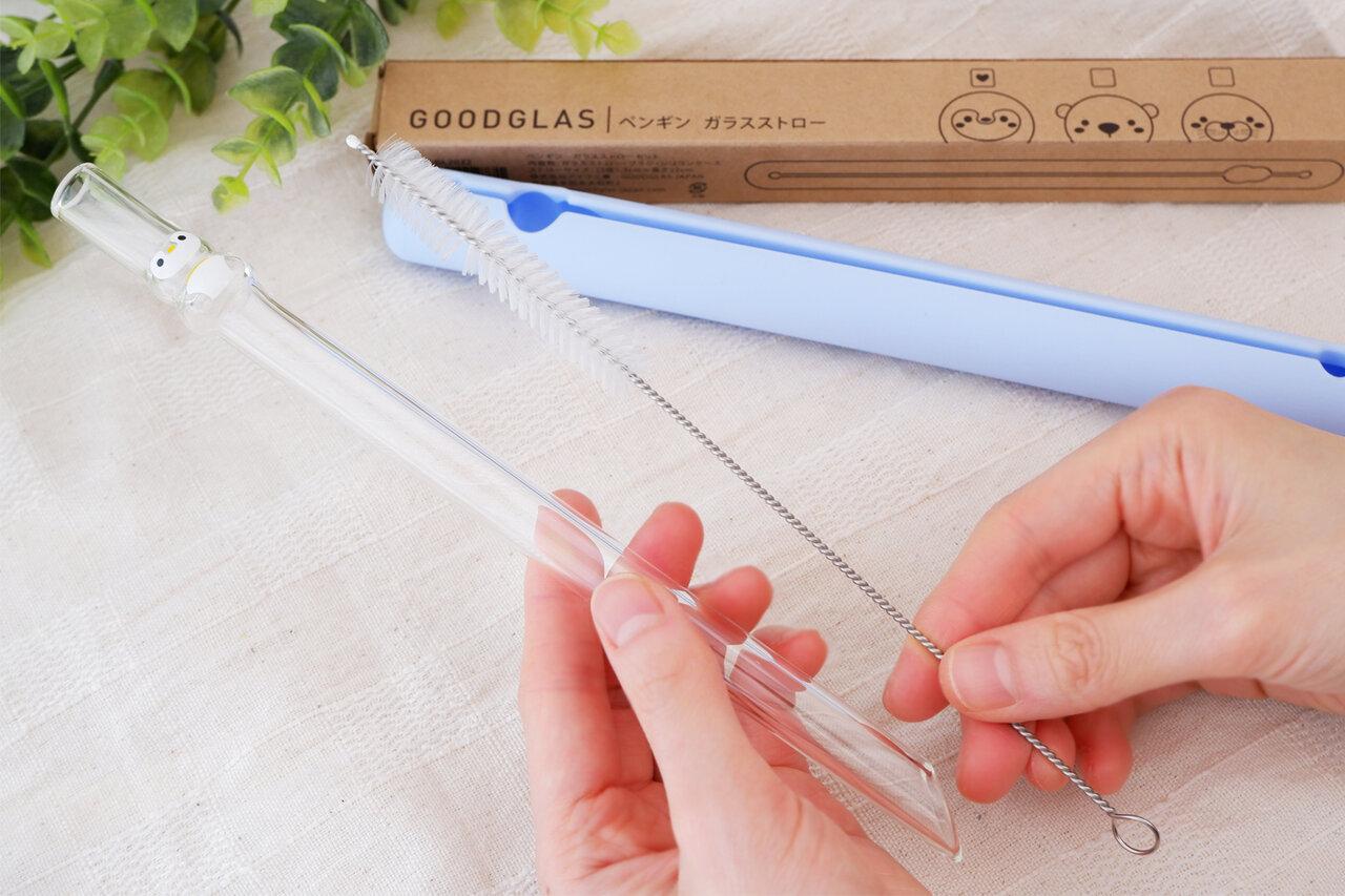 ガラスストロー本体、持ち運びに便利なシリコンケース、専用の洗浄ブラシの3点セット