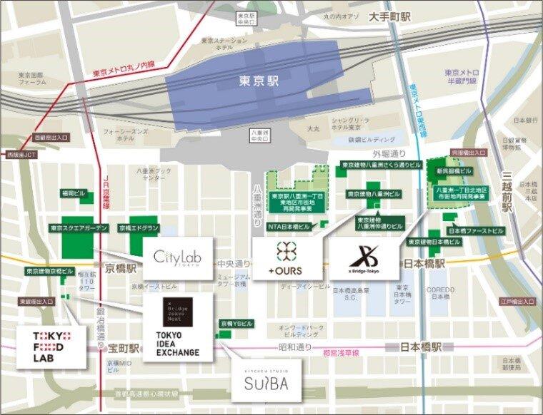 白の吹き出しは東京建物が手掛ける施設