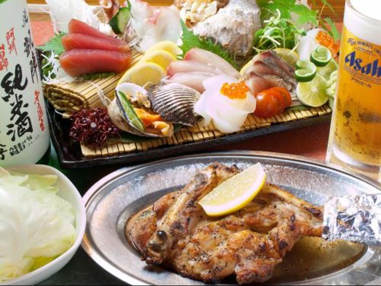 北島商店酒場の魚料理と肉料理