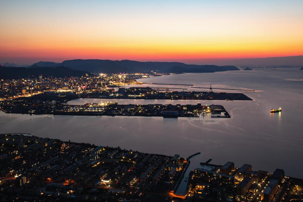 夕焼け空と高松市街