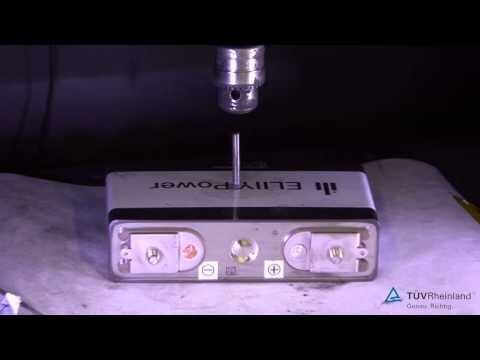 安全性試験動画:大型リチウムイオン電池「安全性ベンチマークテスト」