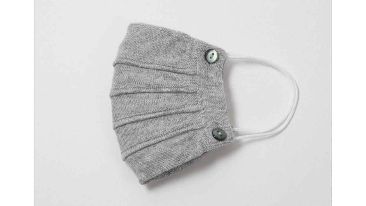 カシミヤ100%ニットマスクカバーで口元あったか。覆う範囲が広がり装着感アップ!