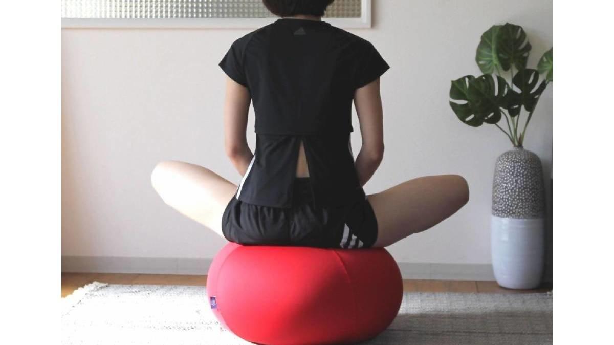 思わず体が動くバランスボール。ロースタイルではクッション替わりにもちょうどいい⁉
