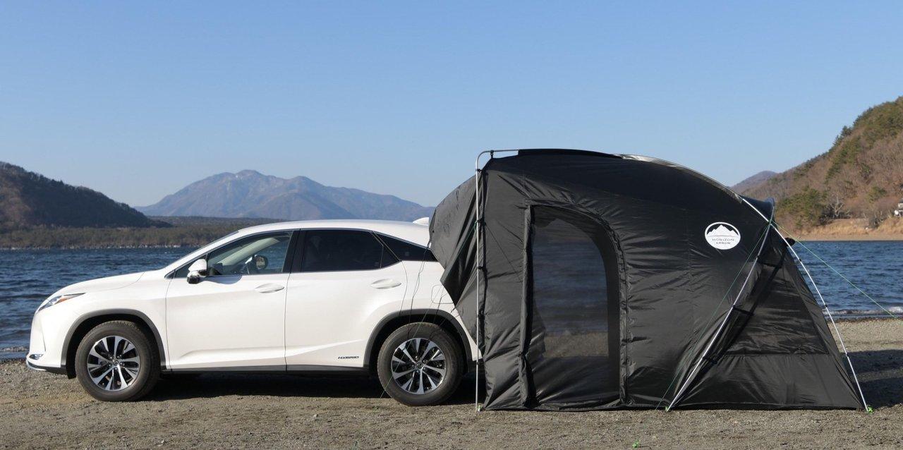 クルマと連結できるテント「CAREX カーレックス」は、荷物移動が超スムーズで虫も入らない!