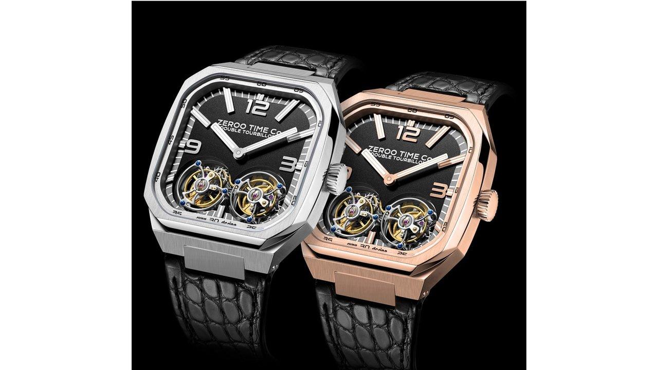 圧倒的な存在感が見える、ダブルトゥールビヨン搭載の機械式腕時計