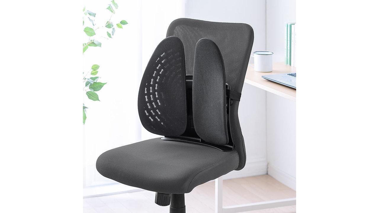 背中をサポートして姿勢を改善!椅子の背もたれに取り付けられるランバーサポートで、座る時間を快適に