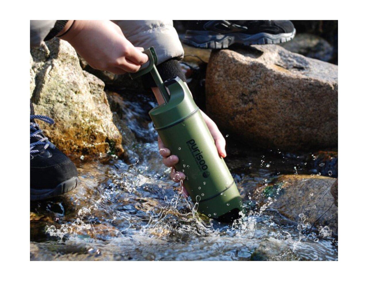 災害時に、山登りに、旅行に!雨や川の水が一瞬で飲み水に変わるポータブル浄水ボトル