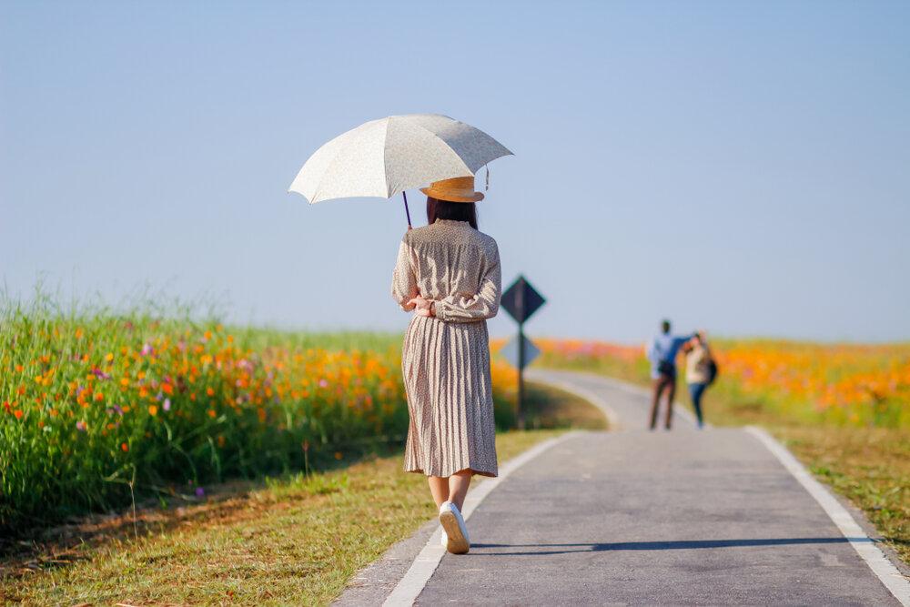 日傘で日焼けを予防する女性