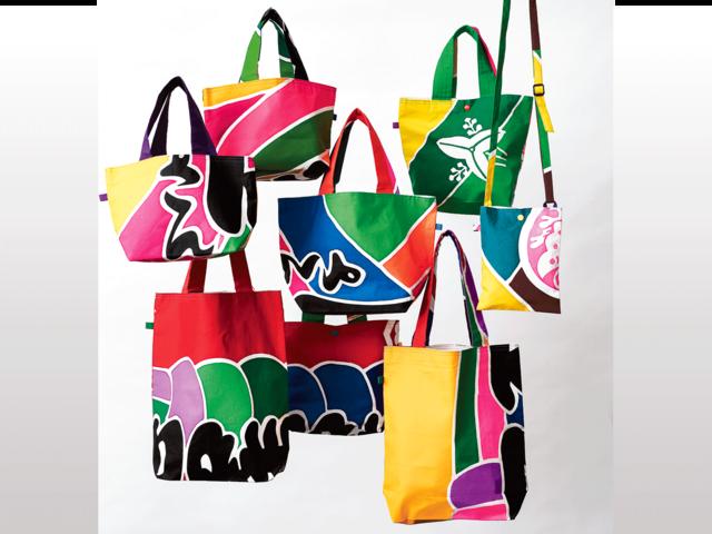 自慢したい、一発勝負の一点物。 ー歌舞伎の幟りで作ったカラフルなバッグ