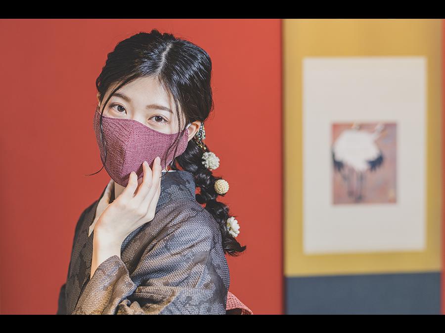 1枚1980円。「和紙織物」を使用した蒸れにくく心地よい肌触りの「モダン和紙織りマスク」新発売。