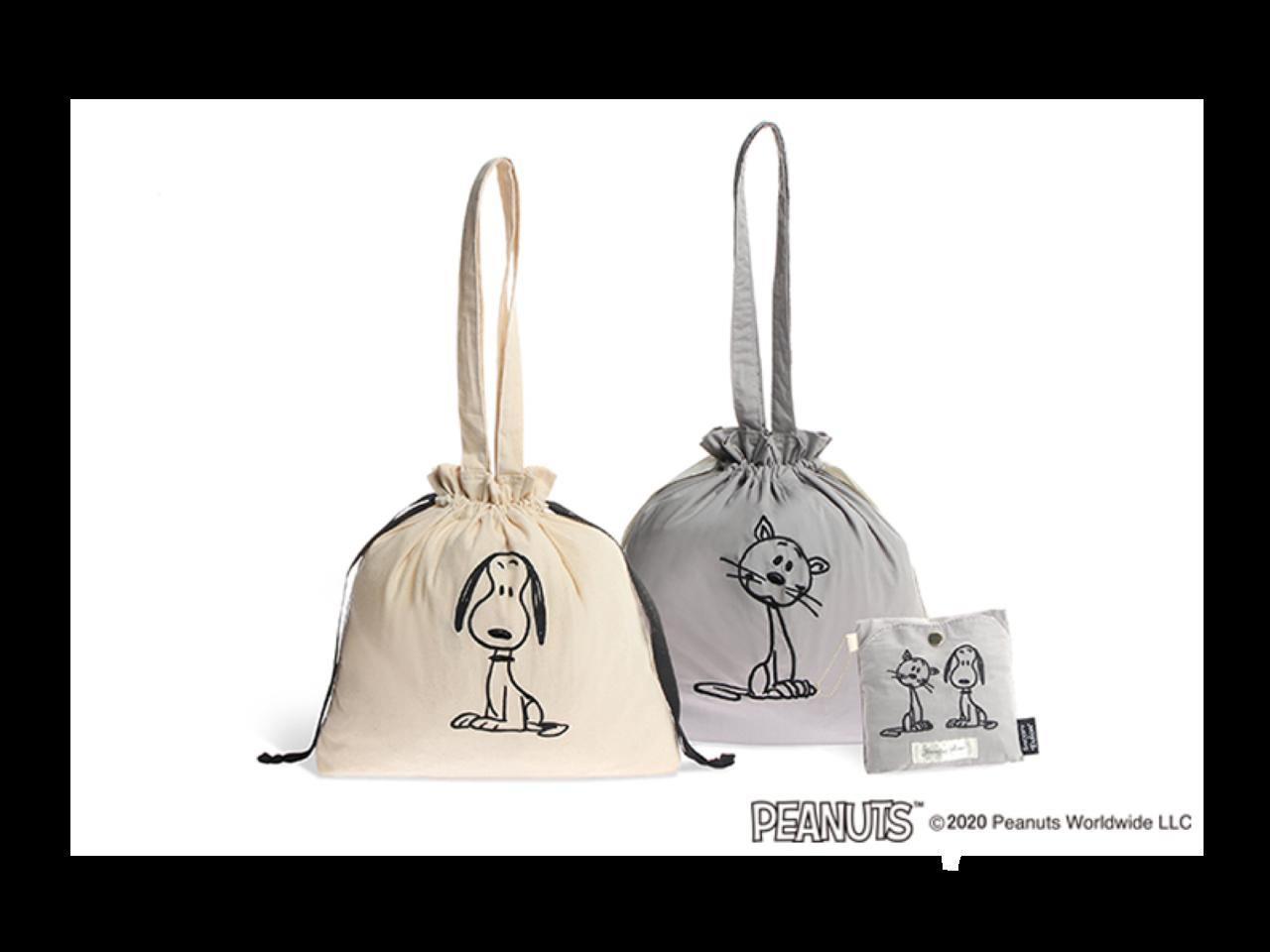 「ピーナッツ」とコラボ。スヌーピー&ファーロンのエコバッグとしても使えるパッカブルトート。