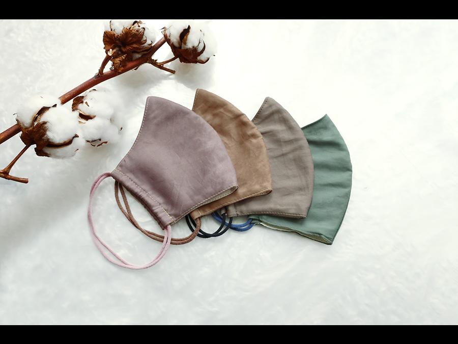 1枚330円。希少なコットン「超長綿」を表地に使用した立体布マスクの発売開始です。
