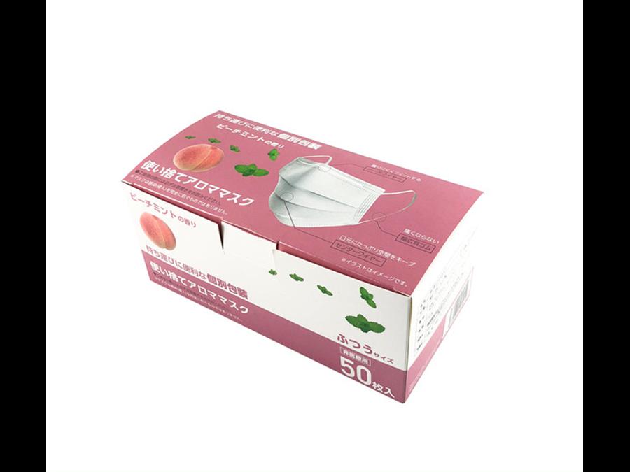 50枚1800円。全9種の香りから選べる不織布マスク!ピーチの香り不織布マスクも発売開始。