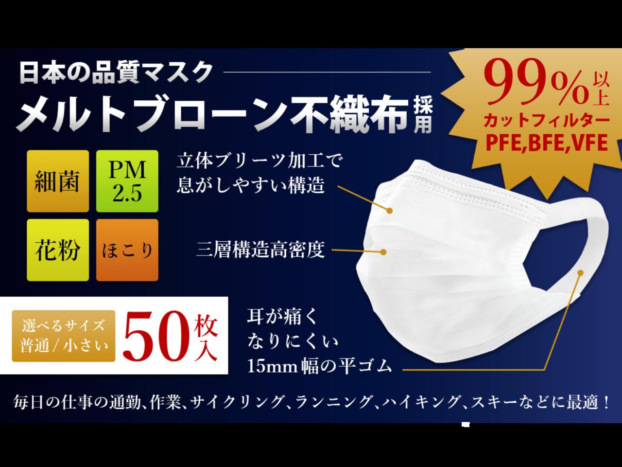 1枚あたり14.8円!累計160万枚突破の高密度フィルター不織布マスクの追加販売開始です。