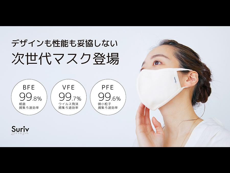 ウイルス飛沫99%カット高機能マスク「スリーヴ」。選べる3サイズで新登場。3枚1350円。