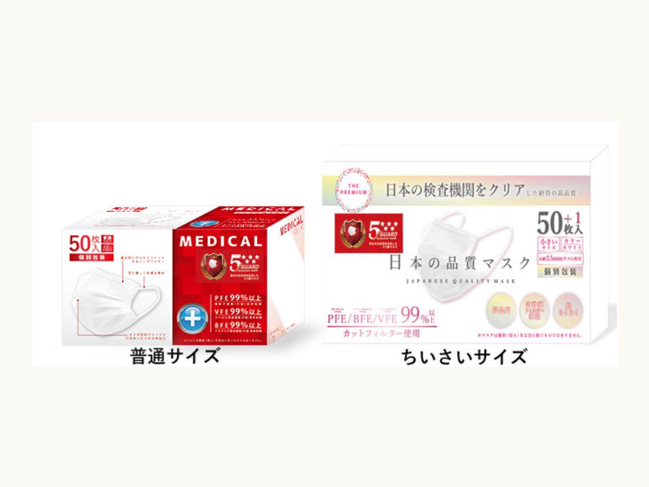 1箱(50枚)740円。ウィルス99%カット「医療用メディカルマスク」が特別価格キャンペーン中。