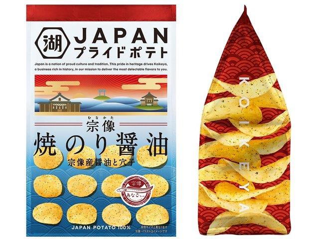湖池屋「JAPANプライドポテト 宗像 焼のり醤油」新発売 漂着ゴミのリサイクル活動も始動