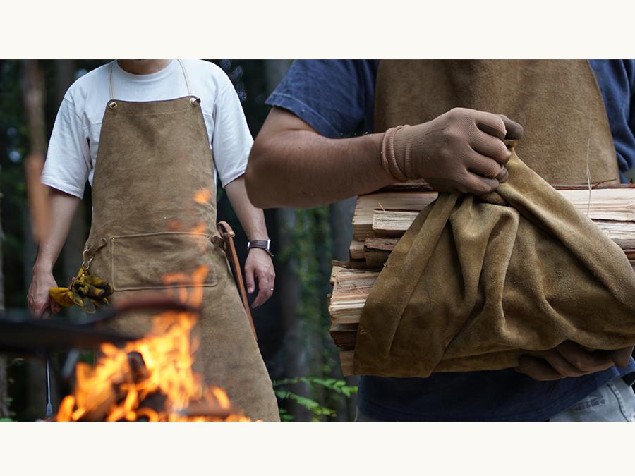 キャンパーに贈る、一枚革でつくる本格的な焚火エプロン