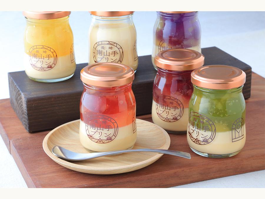 5色に輝く映えるプリンとして人気の「長崎南山手プリン」