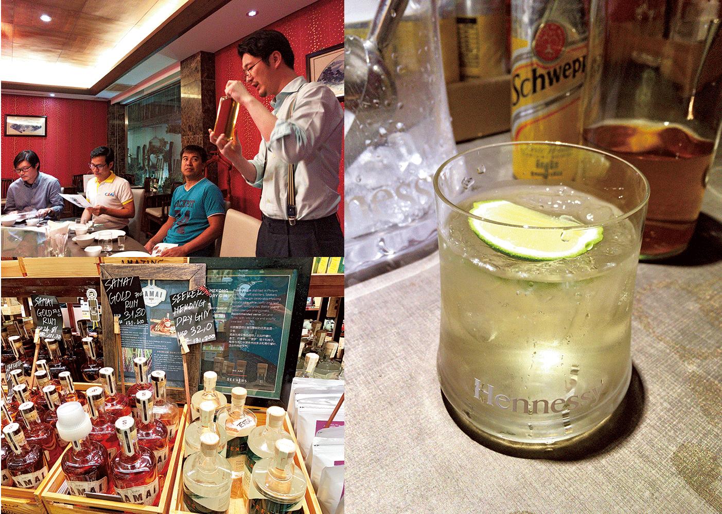 ❺カンボジア産スパイスやハーブ、ホテイアオイを原料に造ったクラフトジン。❻ジンの試飲会。今後、商品化を目指す。バイオエタノール事業の土台を築くため、『サンウエスパ』は今年、カンボジアで会社の登記を予定。❼カンボジアで売られている酒類。