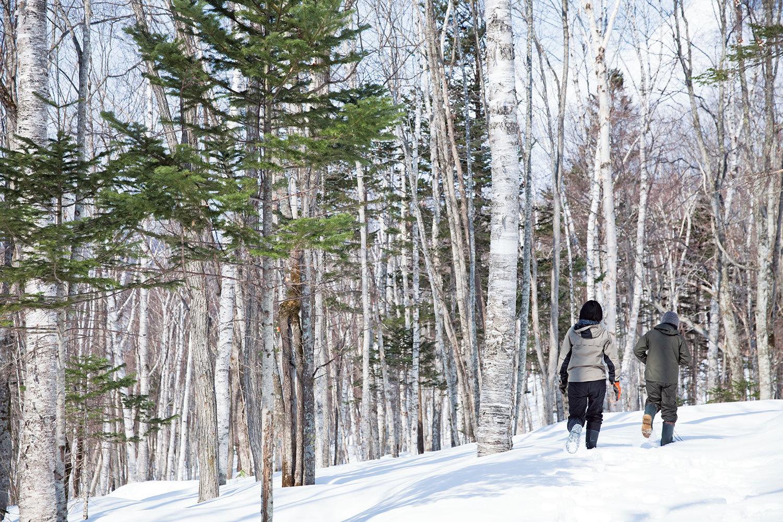 『フプの森』の森を駆ける田邊さんと安松谷さん。どこへ行くの?