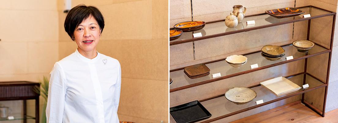 千葉県柏市に本店を持つうつわのセレクトショップ『うつわ 萬器』。『センジュ出版』のカフェの食器はここで購入。「店長の岩城順子さんが、使うシーンも提案しながら薦めてくださるのがうれしい」と吉満さん。企画展では器のほか、アパレルを扱うことも。