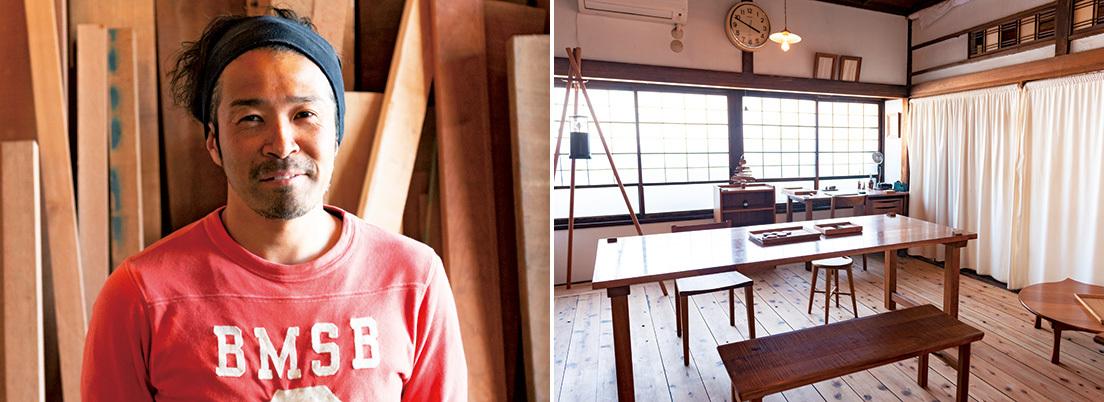 石渡信之さんが2014年、古民家をリノベして始めた無垢の木の家具のアトリエ&ギャラリー『家具屋 イヱノ by イシワタ民具製作所』。フルオーダーの一点物の家具を製作。千住の歴史ある企業の廃木材を利用して「まちの本棚」を作ろうと、吉満さんと計画中だ。