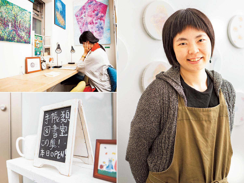 右/『ピカレスク』のオーナー・松岡詩美さん。左上/アートに囲まれながら、心ゆくまで誰かの手帳を堪能しよう。左下/ギャラリーの入口にひっそりと『手帳類図書室』の案内が。知らなければ見逃してしまいそう。