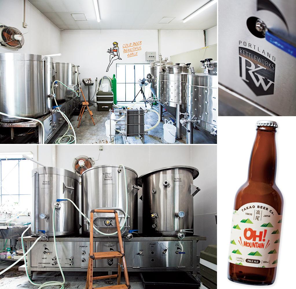 ❶美大生たちのアトリエだったという醸造所。❷❸アメリカから持ち帰った『ポートランド ケトルワークス』のタンク。クラフトビール界では知らぬ人がいないブランドだ。❹友人のイラストレーターのイラストが醸造所に彩りを添える。