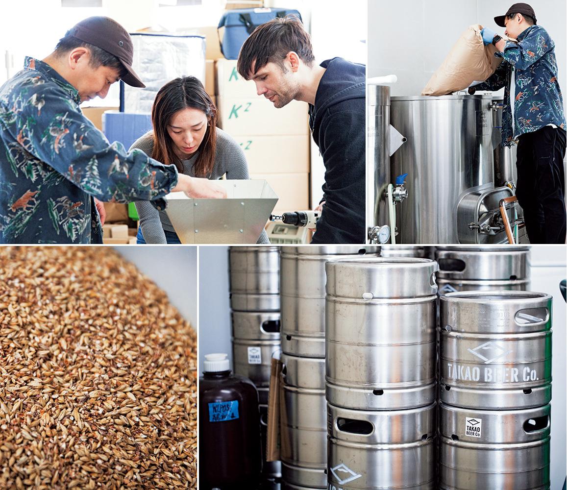 ❺❻手伝いに来てくれた友人とともに、ローストされた大麦を砕いていく。ビールの風味に欠かせない原料だ。❼タンクに次々と投入。❽出来上がったビールは、生ビールとして保管し、イベントなどで提供することも。