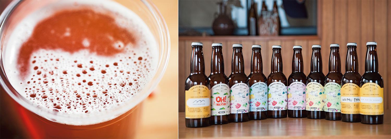 左/琥珀色のビールを1杯。右/日々さまざまな試みを続けている『高尾ビール』。わずか2年余りで10種類以上のクラフトビールを生み出してきた。定番のもの以外は、つくったタイミングでしか味わえないが、それもまた足を運ぶ理由になる。