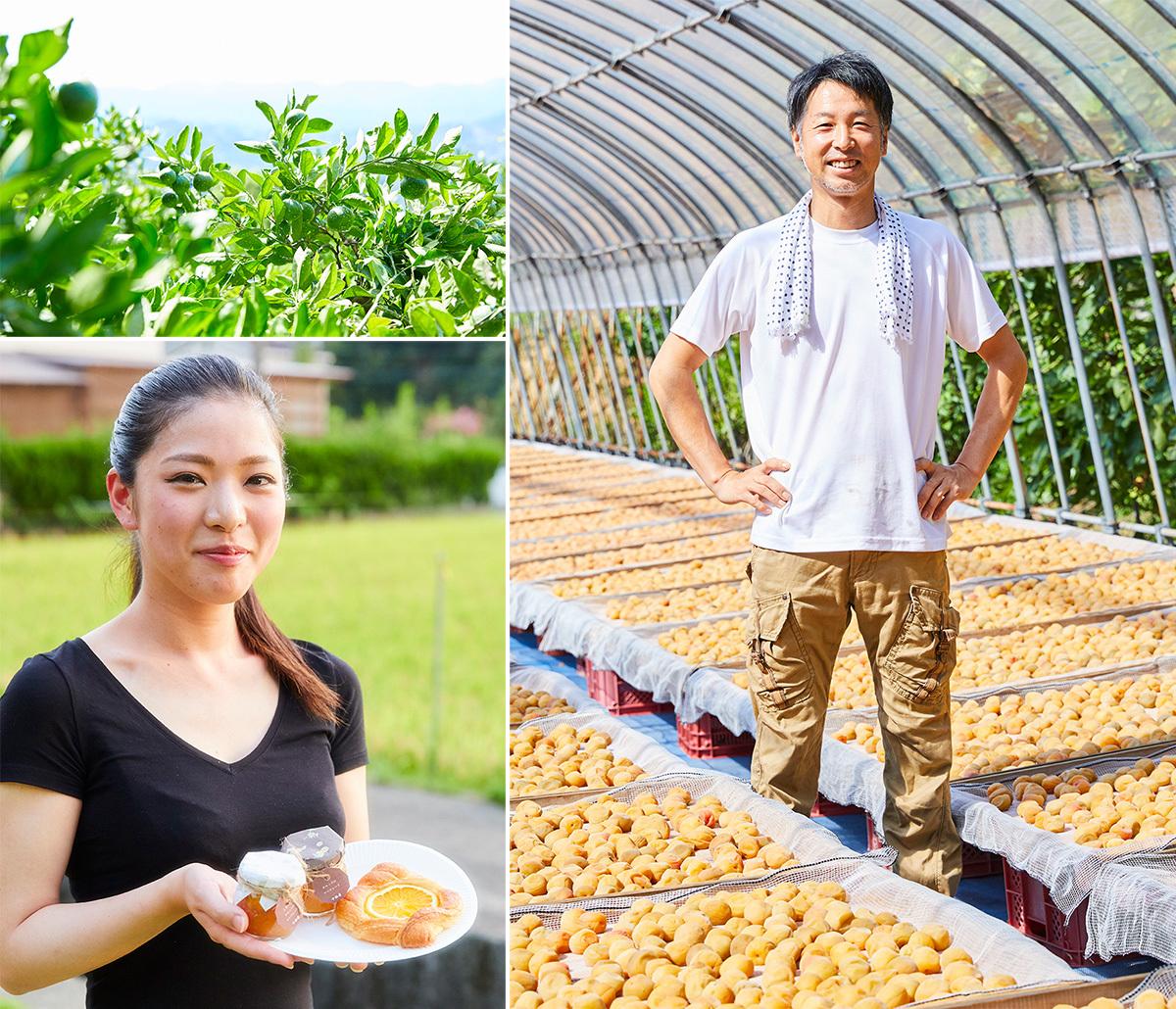 1野久保太一郎さんの『十秋園』で。梅の土用干しの真っ最中だった。2『十秋園』では30種類の柑橘を栽培。32期生で『焼きたてぱんD'oh』の代表・淺賀由貴乃さんが野久保さんの柑橘を使ってつくったコラボパン「オレンジとカスタードのデニッシュ」とマーマレード。「せっかくのコラボなのでマーマレードは店の雰囲気に合わせてつくりました」と野久保さん。