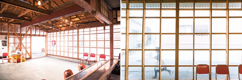 新拠点の企画・設計を行ったのは、共創活動をするためのユニークな空間+家具づくりを手掛けてきた「岩沢兄弟」。車庫だったスペースを建物内と外をつなぐ空間として開放し、人が溜まれる入り口にすることで、初めての人もふらっと入り込める空間をつくった。敷地内にはもうひとつの建物「母屋」があるほか、「大工小屋」として使っていた建物は解体して更地に。これらの空間や建物を含めて、使い方を考えていく。
