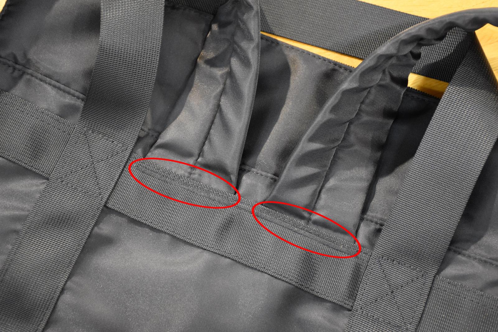 ショルダーベルトの付け根をがっちり縫製して強度を高めています。