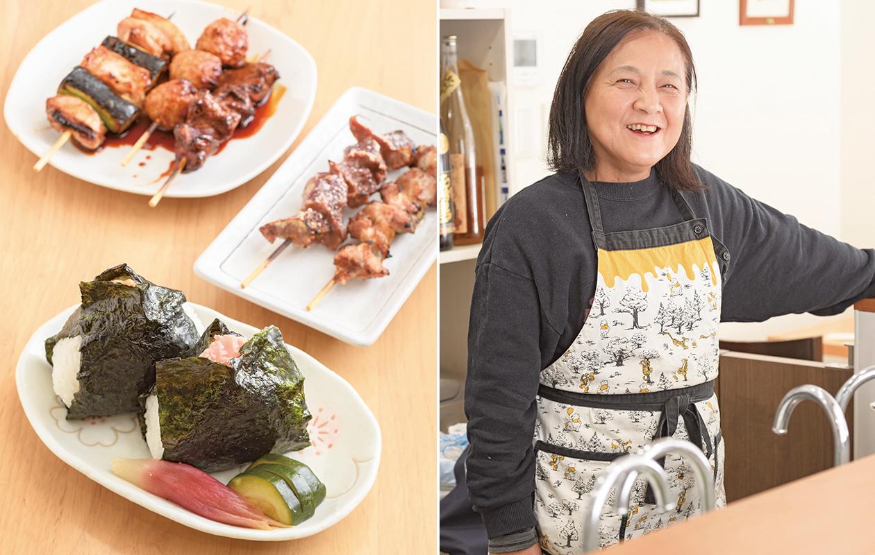 『梅の湯』の1階に入る焼き鳥店『梅京』。「銭湯に入り、一杯飲んだ後に焼き鳥」という至福の時間を楽しめる。店を経営するのは栗田尚史さんの母・京子さん。