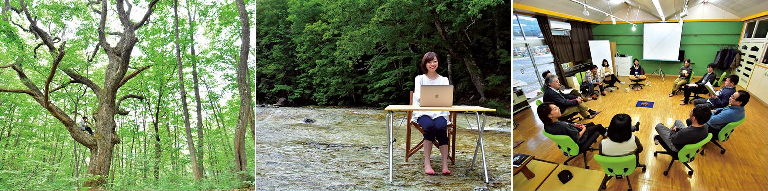 左/みなかみ町には豊かな森が多い。「周辺にダムがあるおかげで森林が守られてきたんです」と都丸さん。木の上も「オフィス」に! 中央/清流の中に机と椅子を運び込む、夏季限定の「水冷オフィス」。せせらぎの音と水の冷たさとで新鮮なアイデアが湧いてくる。 右/廃・幼稚園を利用した『テレワークセンターみなかみ』での会議の様子。自己肯定力を育む場所である幼稚園では、自由な発想が生まれる。