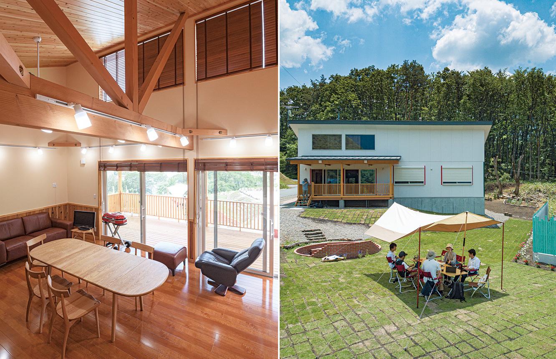 今年5月に正式オープンした『WIND+HORN』。屋内にもミーティング室やキッチンの設備がある。屋外には芝生のミーティングスペースが広がる。