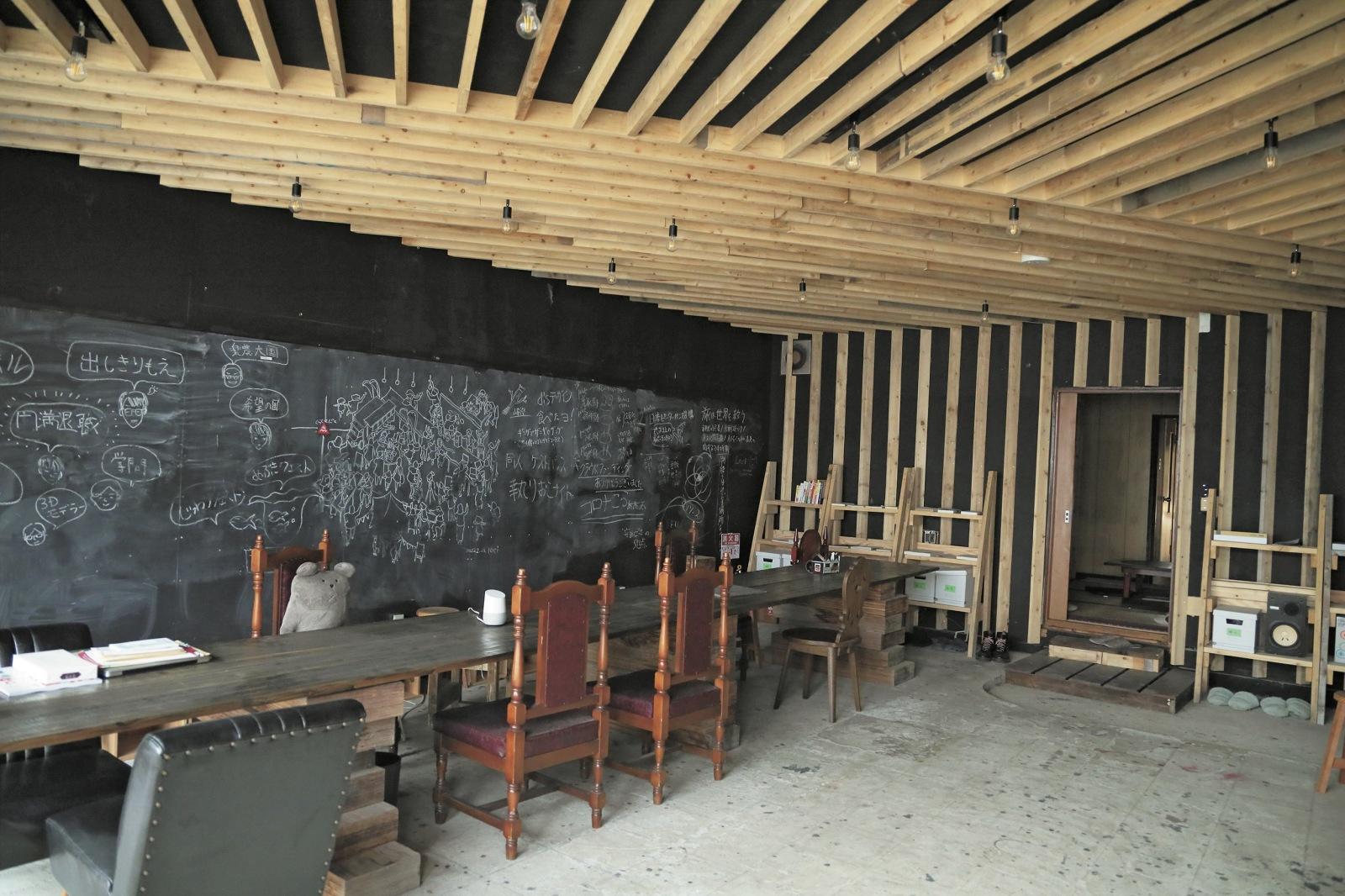 1階にある黒板には、今までに聞いた勉強会や話し合いの様子が残されている。
