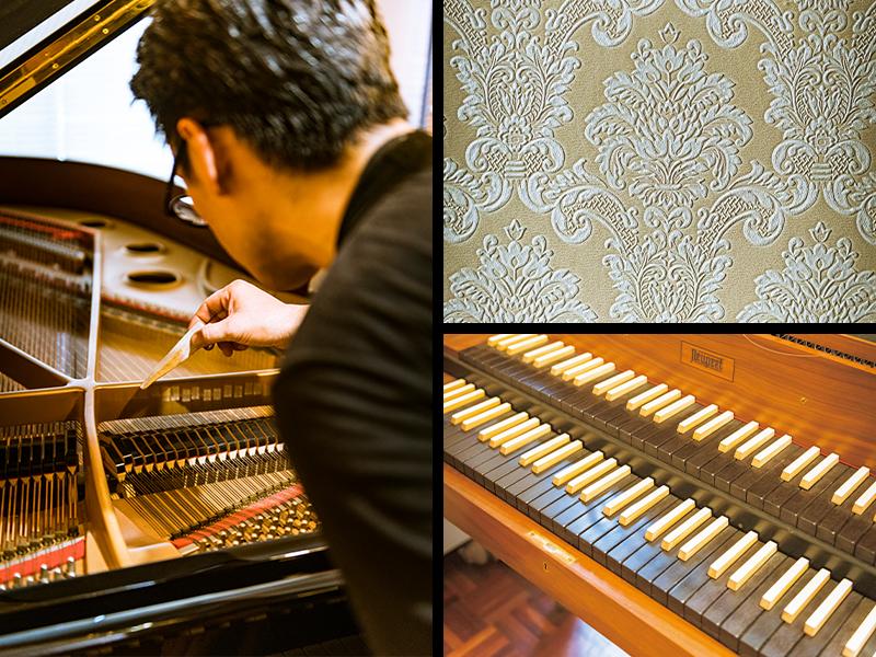左/大輔さんが調律したこのグランドピアノは、寄贈されたもの。極少量生産の貴重な、国産ピアノDIAPASON」だ。右上/もとの壁紙を剥がし、新しいものに。作業は友人らとDIYで。できる限りのことは自分たちの手で。これでかかる経費を抑えた。右下/ピアノの原型の一つといわれるチェンバロ。「今から弦を張って修理していくんです」と大輔さん。