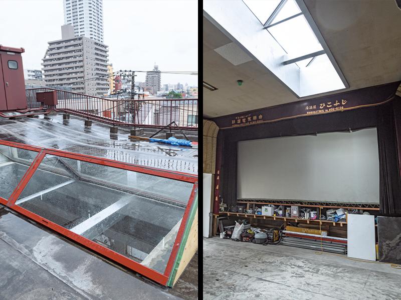 天窓を付け、壁を開けた状態の『元映画館』。さらにリノベーションを進めて、スクリーンを可動式にすることも構想中。