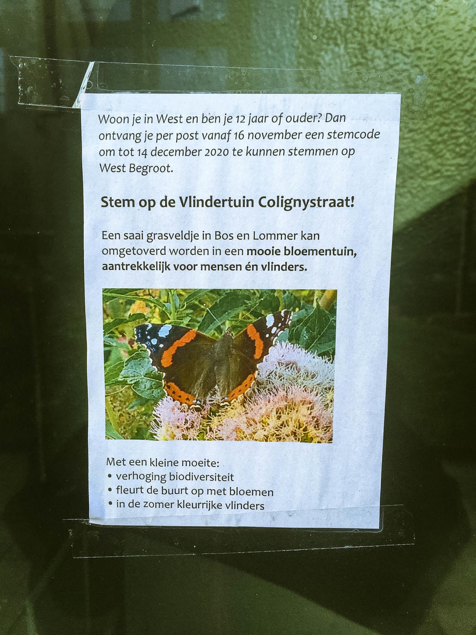 コミュニティスペースの活用方法を提案する市民が張り出したポスター。この人の提案はバタフライ・ガーデンをつくりたいというもの。自ら考え、行動する市民は多いという。