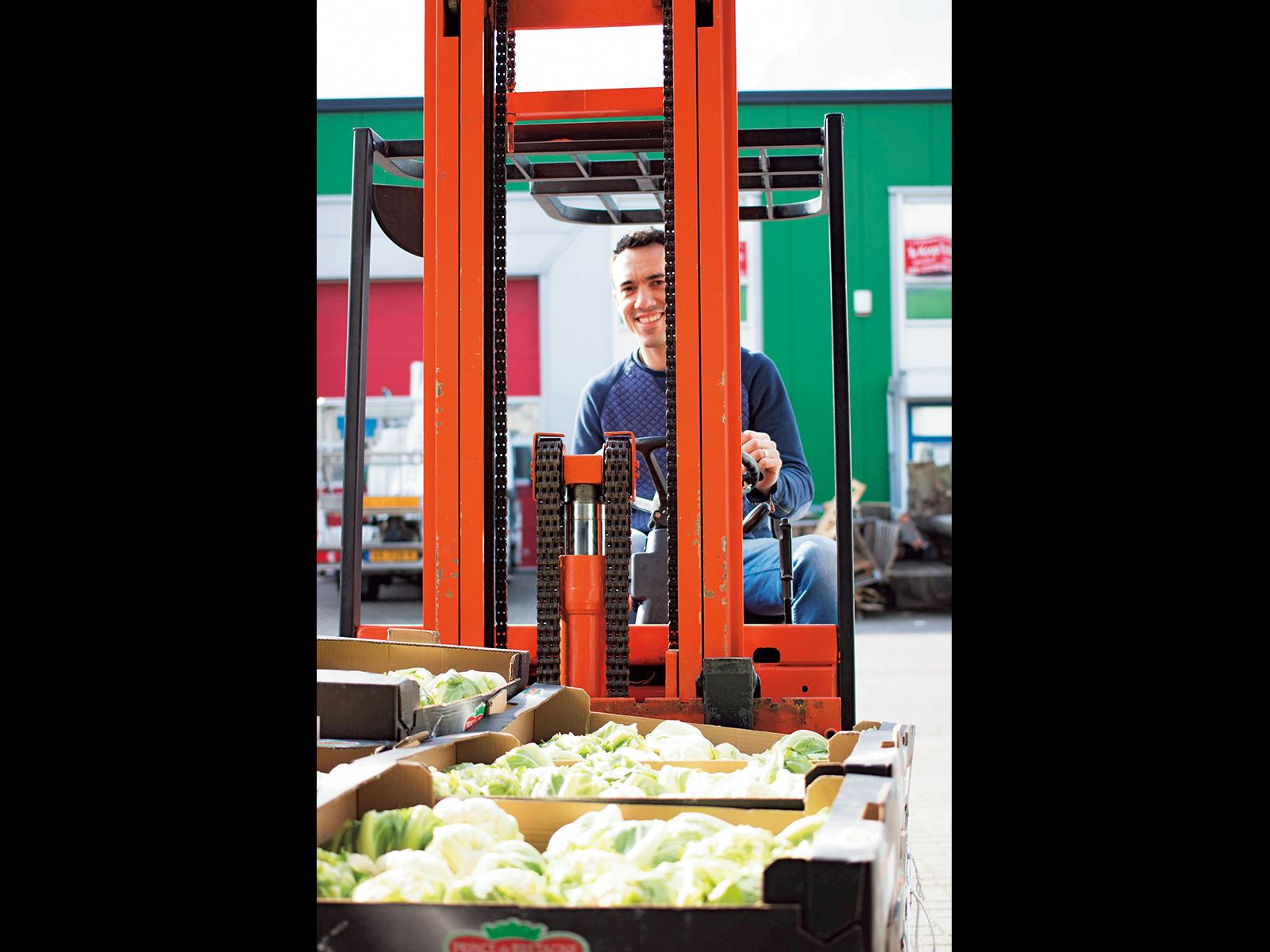小さくて売れにくいキャベツを回収するスタッフ。毎日、大量の野菜が集まる。