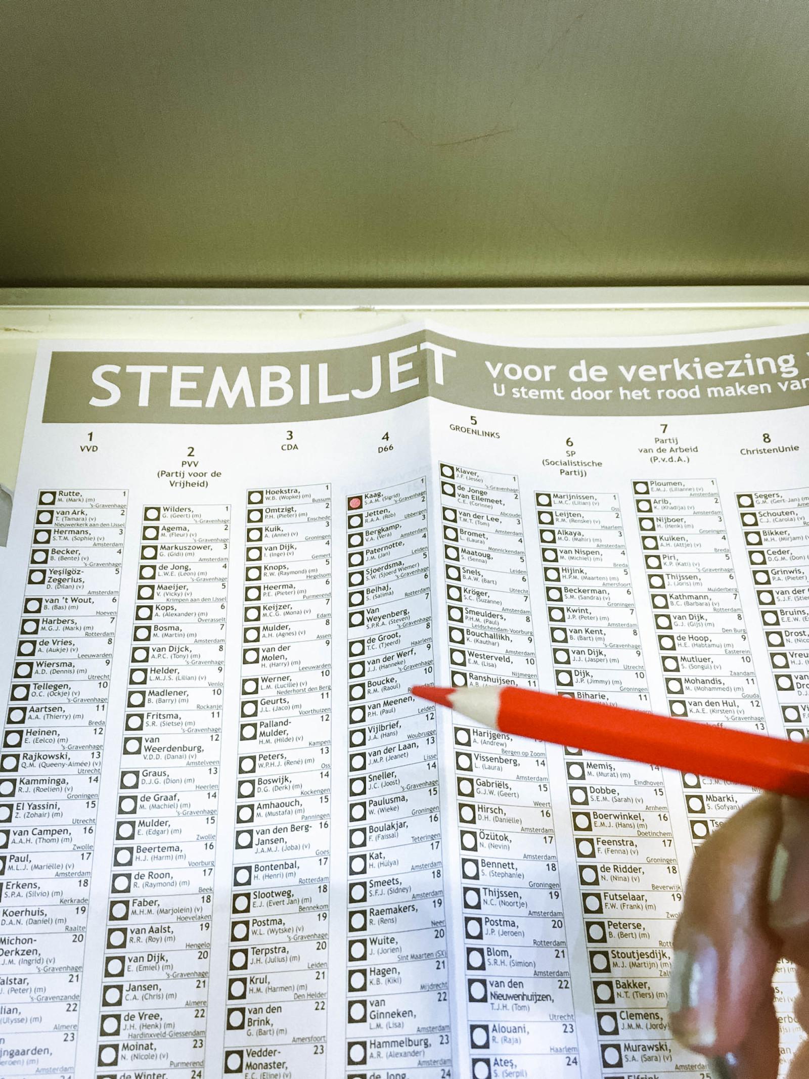 オランダでは簡単なマークシート方式で投票できるそう。