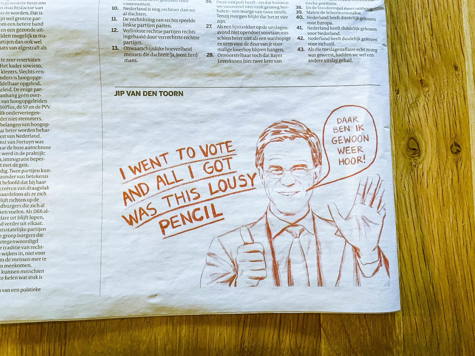 「投票して得たのは、この鉛筆だけ」「やあ、また僕だよ!」と書かれたルッテ政権に対する新聞の風刺画。